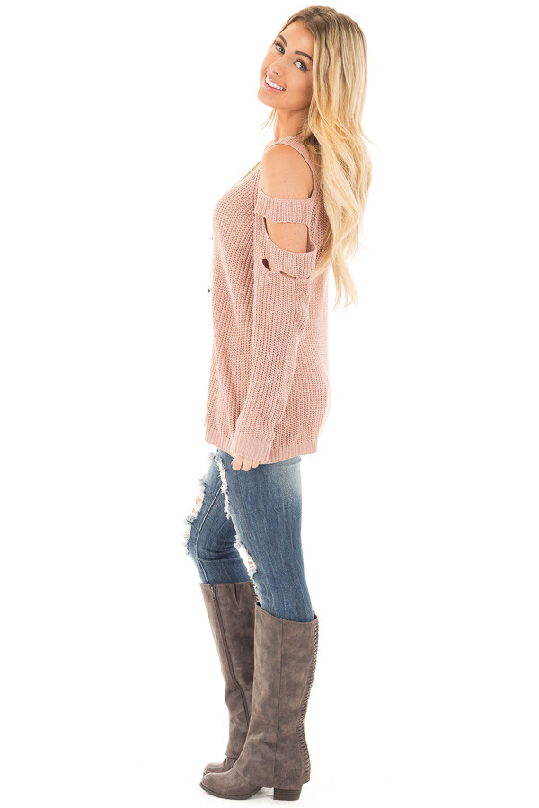 Dusty Rose Cold Shoulder Sweater with Cut Out Sleeve Details side full body