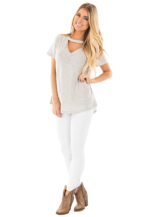 Heather Grey Two Tone Tee with Cut Out V Neck front full body