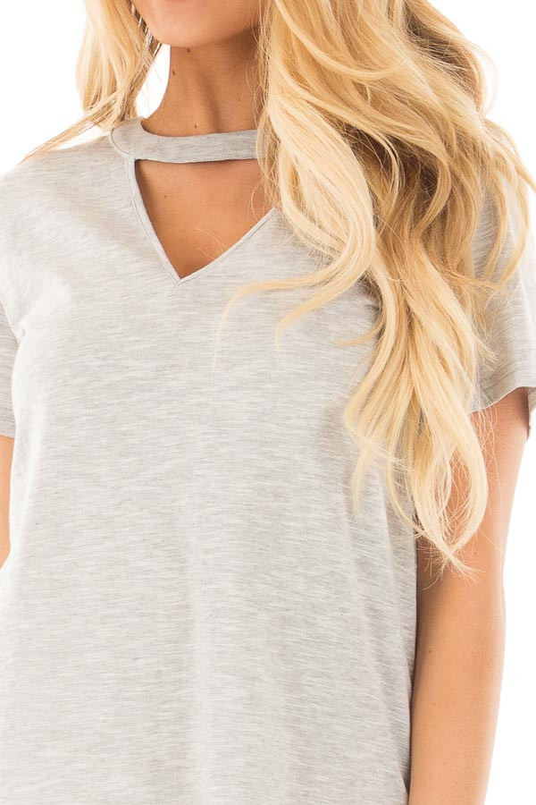 Heather Grey Two Tone Tee with Cut Out V Neck detail