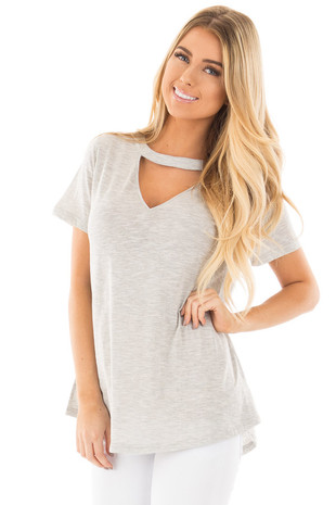 Heather Grey Two Tone Tee with Cut Out V Neck front close up