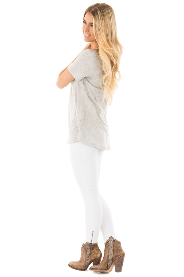 Heather Grey Two Tone Tee with Cut Out V Neck side full body