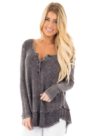Deep Grey Mineral Wash Long Sleeve with Deep Neckline Top front close up