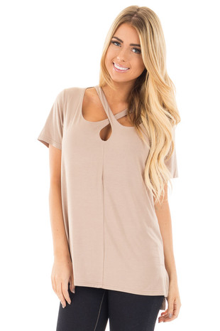 Taupe Tee with Cut Out Criss Cross Neckline front close up
