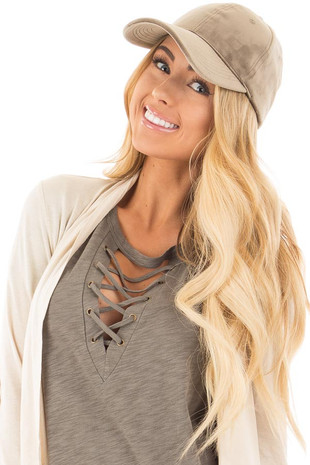 Khaki Velour Baseball Hat
