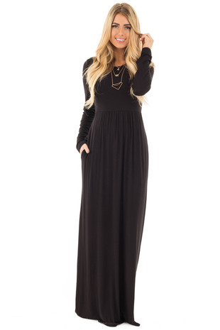 Black Long Sleeve High Waist Maxi Dress with Hidden Pockets front close up