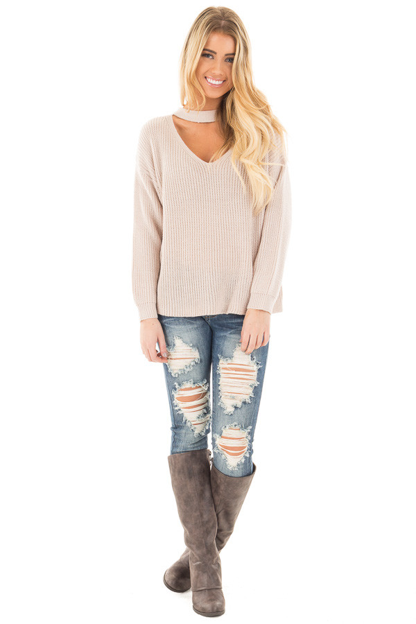 Light Blush V Neck Cut Out Long Sleeve Knit Sweater front full body