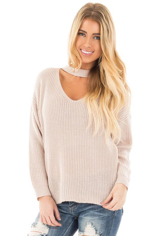 Light Blush V Neck Cut Out Long Sleeve Knit Sweater front close up