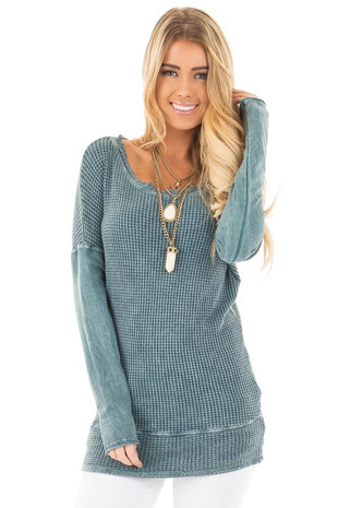 Dusty Teal Mineral Wash Long Sleeve Top front close up