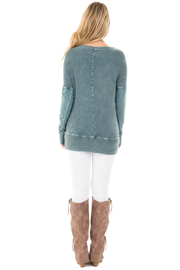 Dusty Teal Mineral Wash Long Sleeve Top back full body
