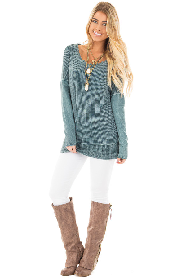Dusty Teal Mineral Wash Long Sleeve Top front full body