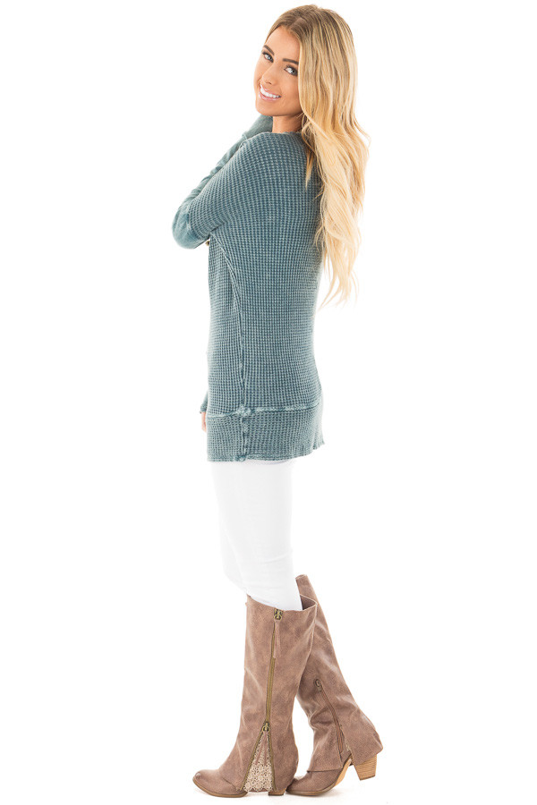 Dusty Teal Mineral Wash Long Sleeve Top side full body