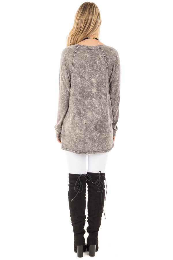 Charcoal High Low Long Sleeve with V Neckline Top back full body