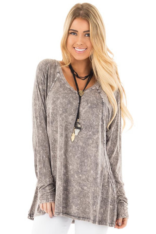 Charcoal High Low Long Sleeve with V Neckline Top front close up