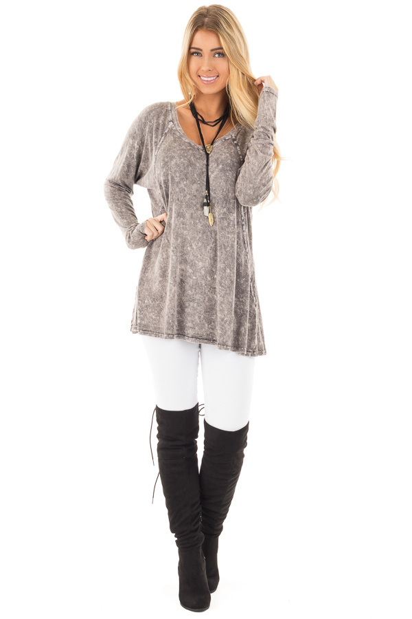 Charcoal High Low Long Sleeve with V Neckline Top front full body