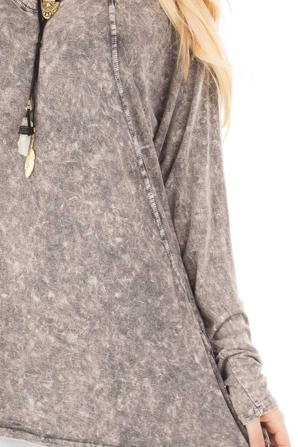 Charcoal High Low Long Sleeve with V Neckline Top detail