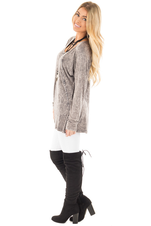 Charcoal High Low Long Sleeve with V Neckline Top side full body