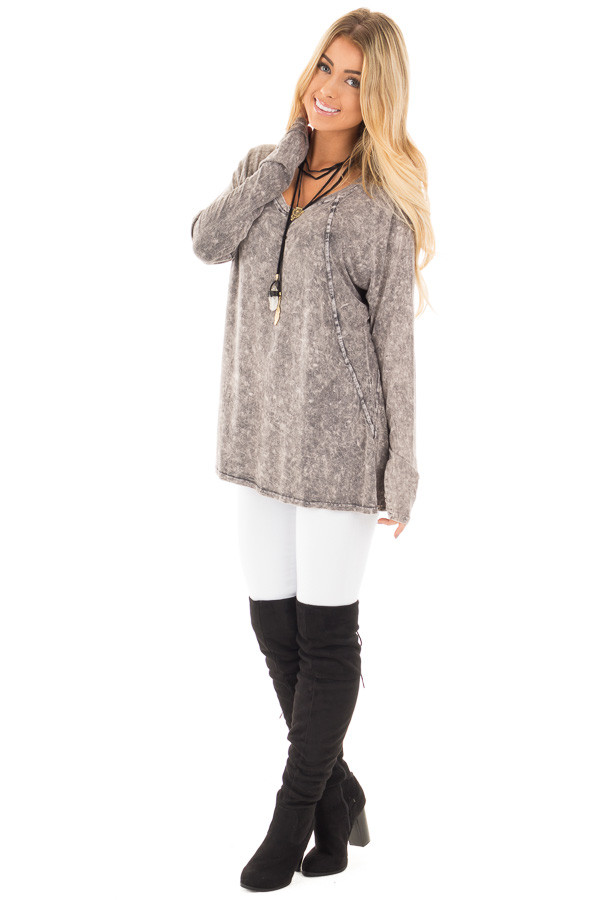Charcoal High Low Long Sleeve with V Neckline Top front side full body