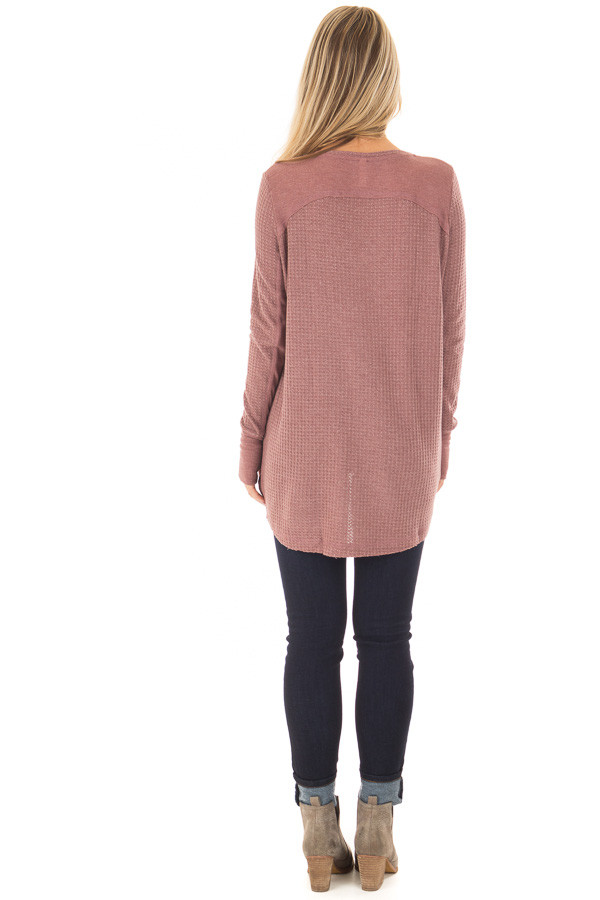 Mauve Hi-Low Waffle Textured Long Sleeve Top back full body