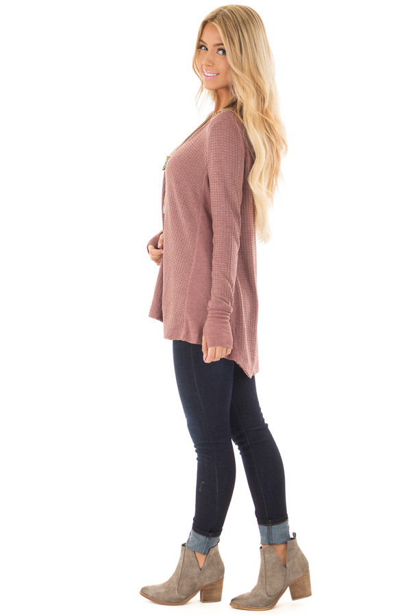 Mauve Hi-Low Waffle Textured Long Sleeve Top side full body