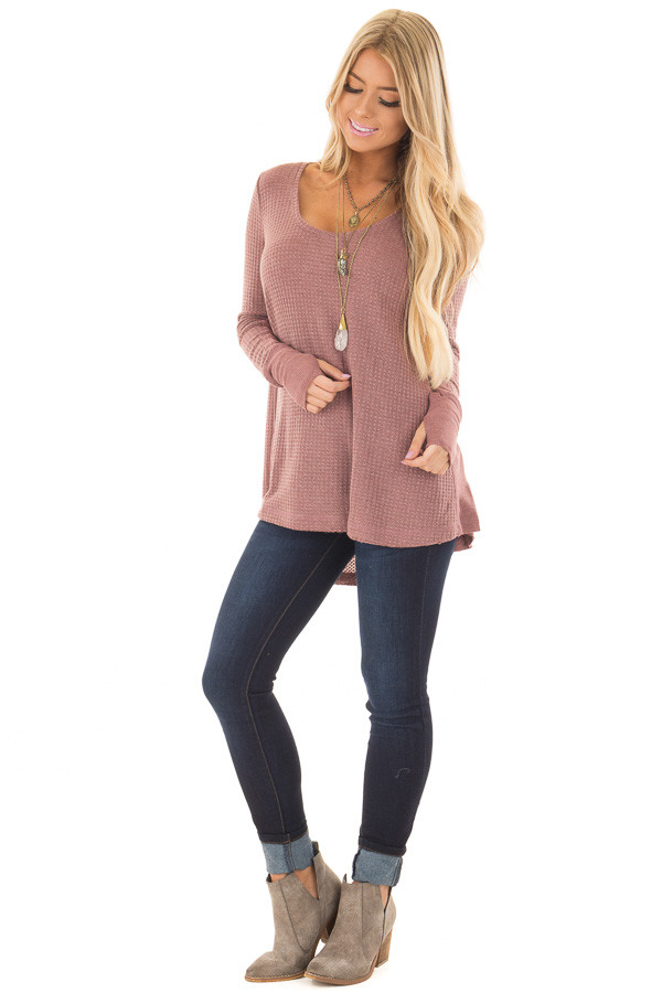 Mauve Hi-Low Waffle Textured Long Sleeve Top front full body