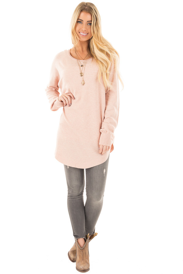 Light Pink Round Neck Soft Knit Sweater front full body
