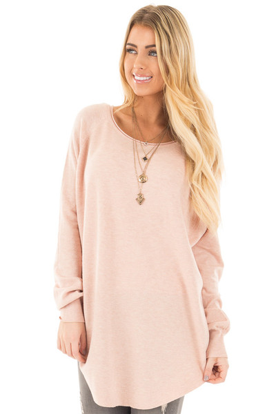 Light Pink Round Neck Soft Knit Sweater front close up