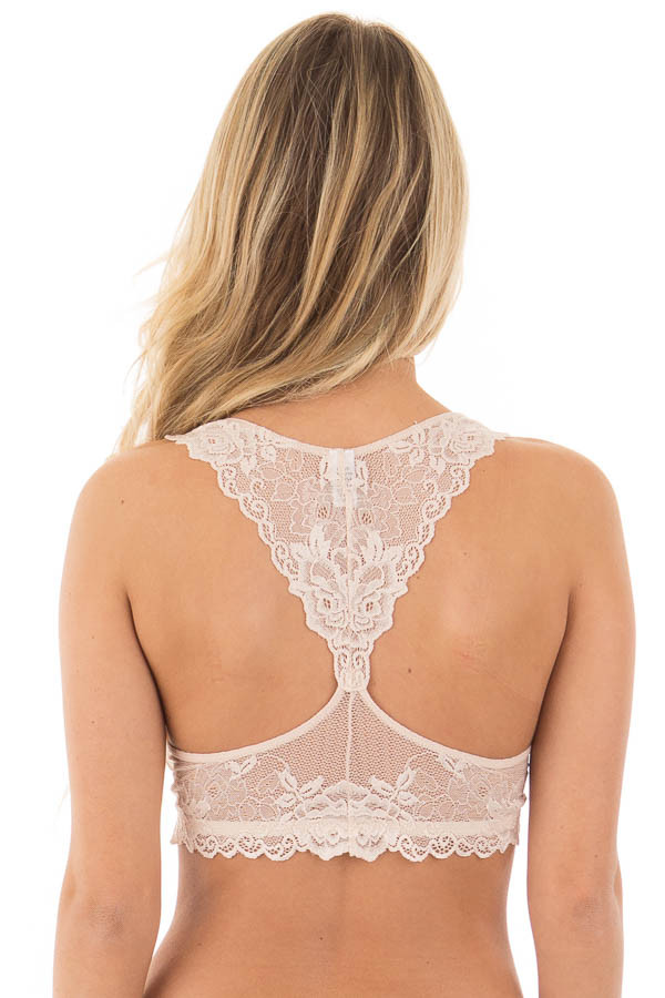 Blush Racer-Back Flower Laced Bralette