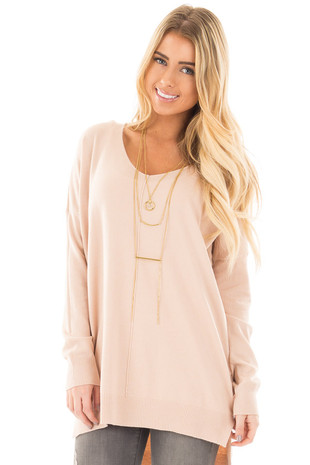 Pale Blush Oversized V Neck Soft Knit Sweater front close up