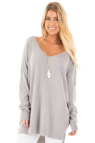 Heather Grey Oversized V Neck Soft Knit Sweater front close up