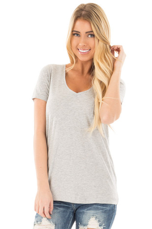 Heather Grey Basic V Neckline with Front Pocket Tee front close up