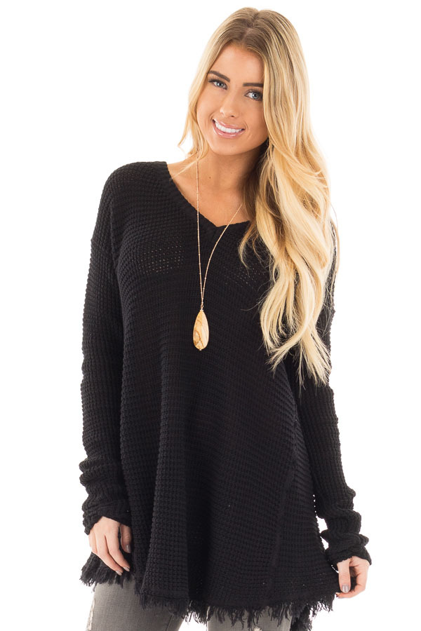 Black V Neck Knit Sweater with Raw Edge Trimming front close up