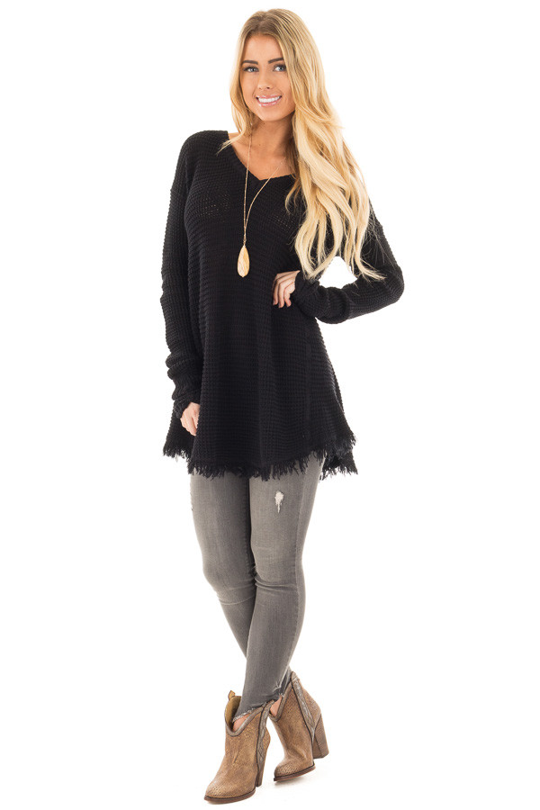 Black V Neck Knit Sweater with Raw Edge Trimming front full body