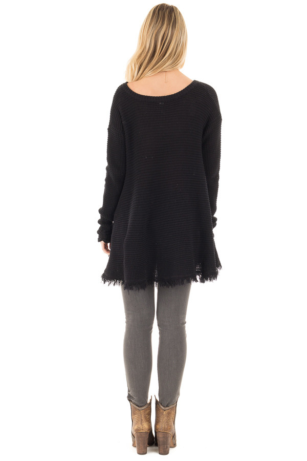 Black V Neck Knit Sweater with Raw Edge Trimming back full body