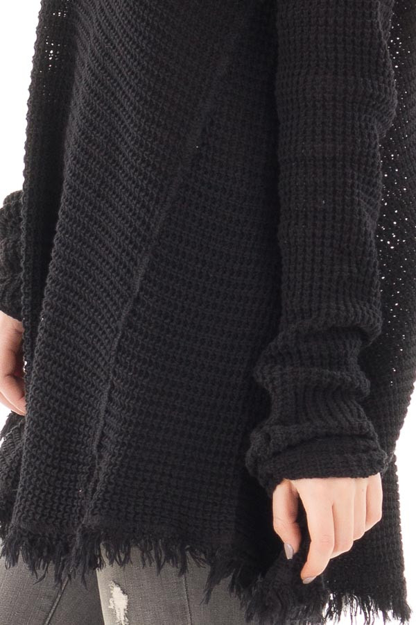 Black V Neck Knit Sweater with Raw Edge Trimming detail
