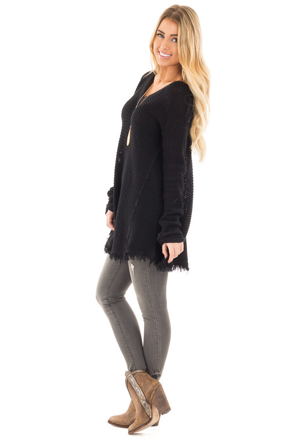 Black V Neck Knit Sweater with Raw Edge Trimming side full body