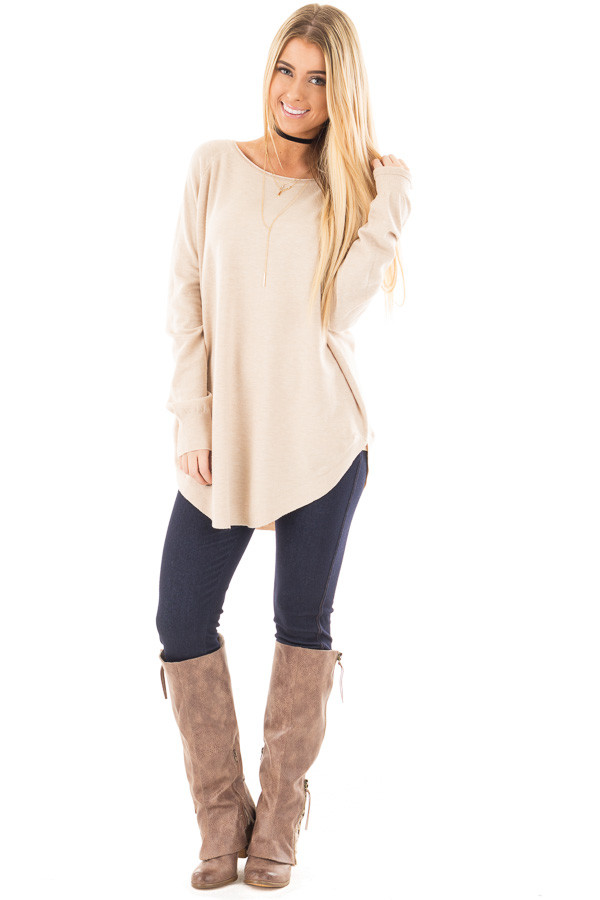 Oatmeal Round Neck Soft Knit Sweater front full body
