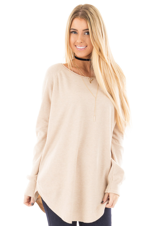 Oatmeal Round Neck Soft Knit Sweater front close up
