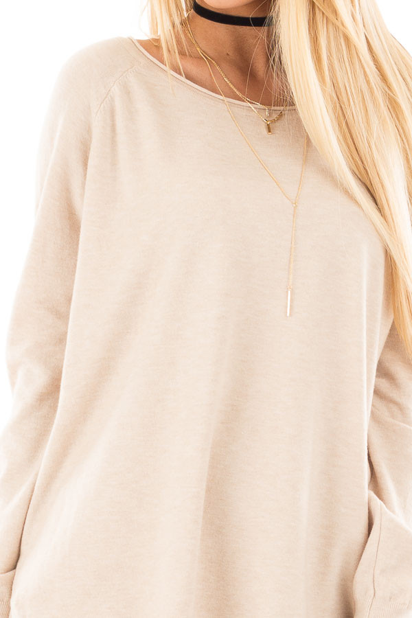 Oatmeal Round Neck Soft Knit Sweater detail