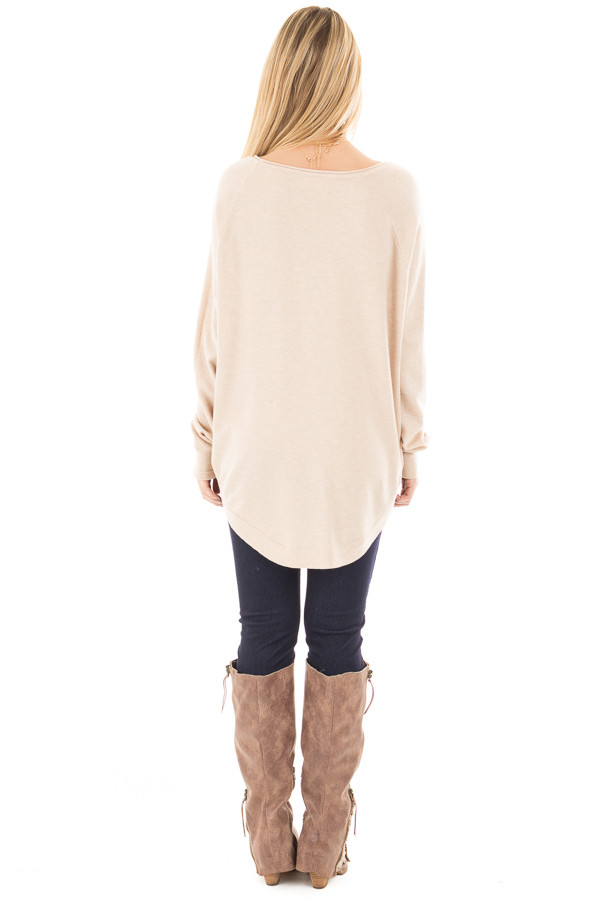 Oatmeal Round Neck Soft Knit Sweater back full body