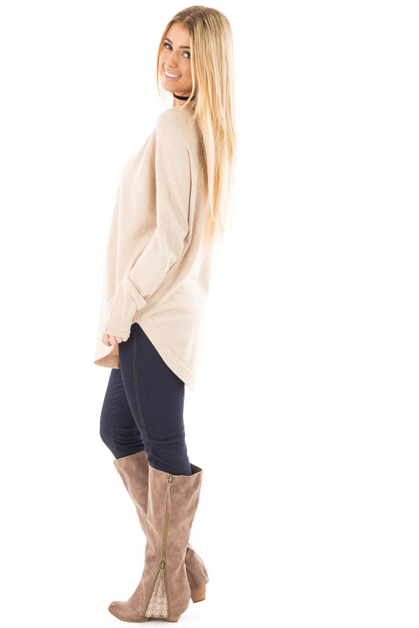 Oatmeal Round Neck Soft Knit Sweater side full body