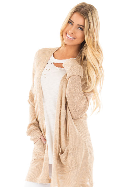Oatmeal Sheer Knit Cardigan with Pockets front close up