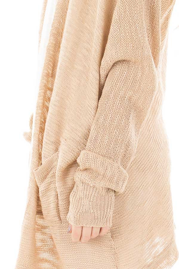 Oatmeal Sheer Knit Cardigan with Pockets detail