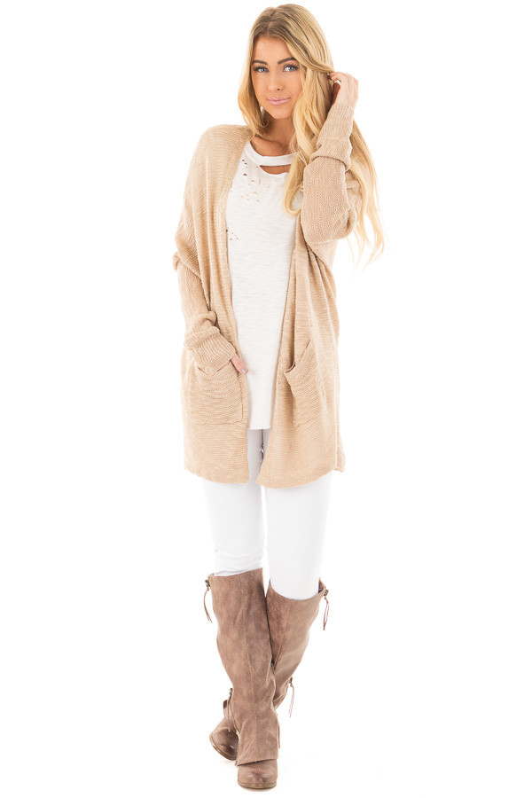 Oatmeal Sheer Knit Cardigan with Pockets front full body