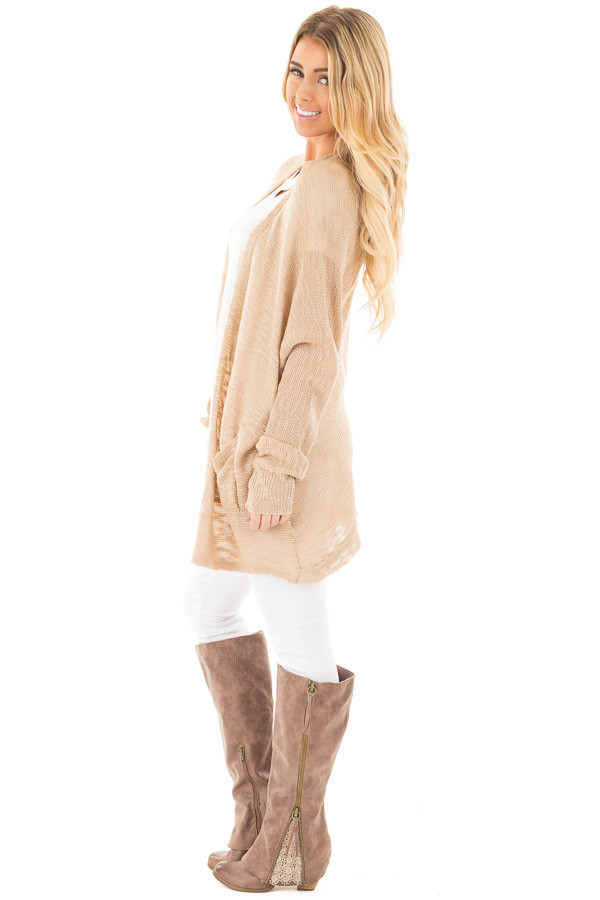 Oatmeal Sheer Knit Cardigan with Pockets side full body