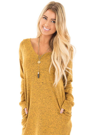 Mustard V Neck Long Sleeve Tunic with Hidden Pockets front close up