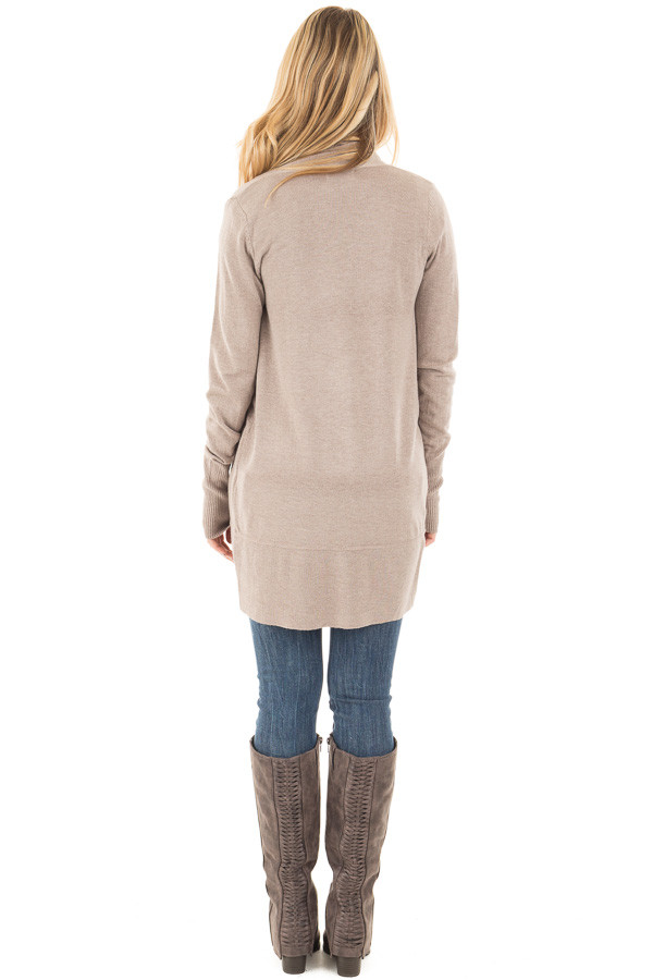 Mocha Soft Knit Long Sleeve Open Drape Cardigan back full body