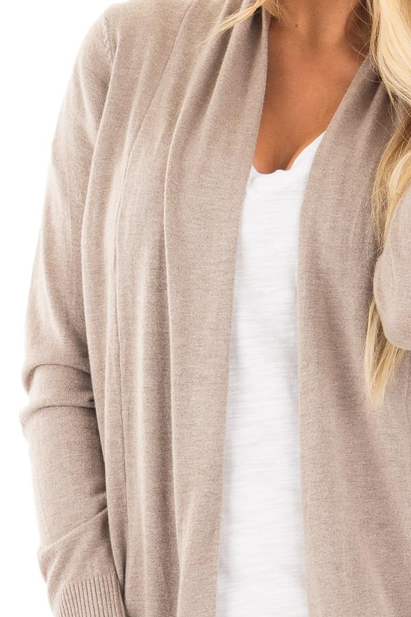 Mocha Soft Knit Long Sleeve Open Drape Cardigan detail