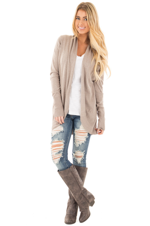 Mocha Soft Knit Long Sleeve Open Drape Cardigan front full body