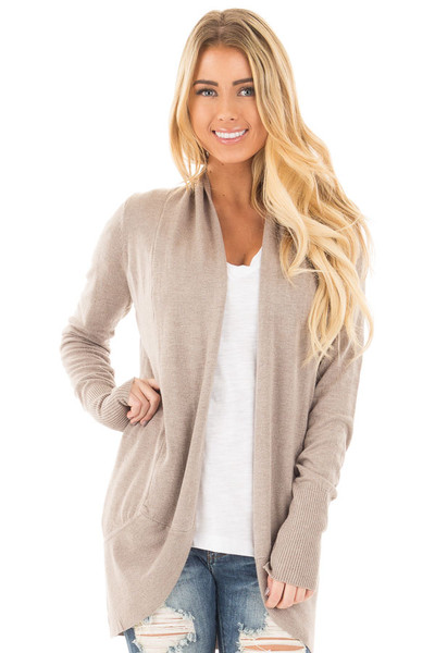 Mocha Soft Knit Long Sleeve Open Drape Cardigan front close up