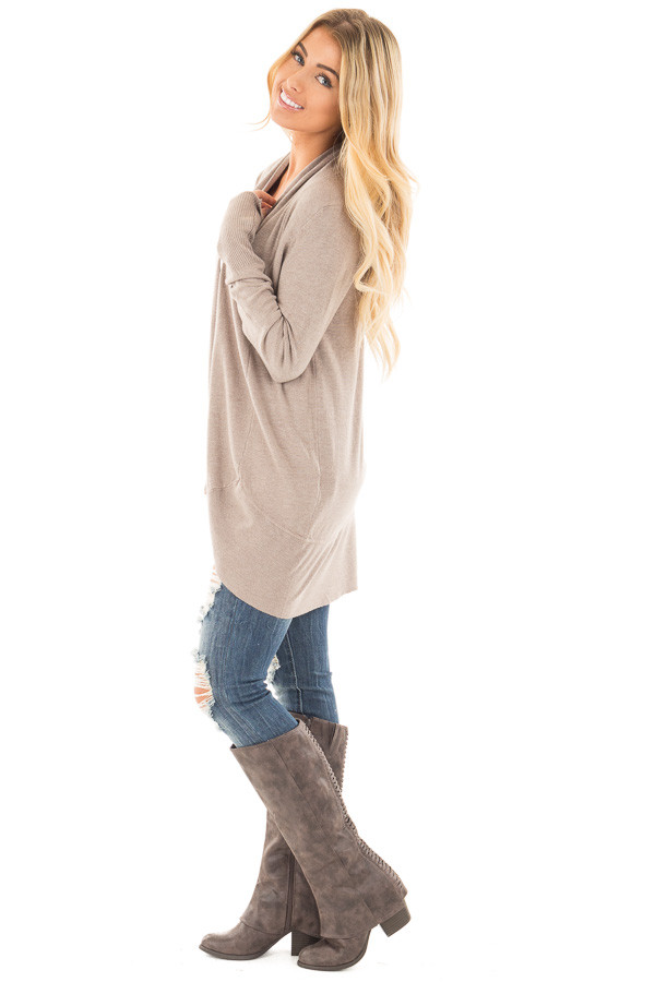 Mocha Soft Knit Long Sleeve Open Drape Cardigan side full body